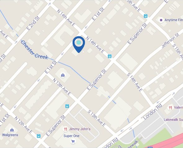 Map of Chester Creek Dental on 1st Street in Duluth, Minnesota